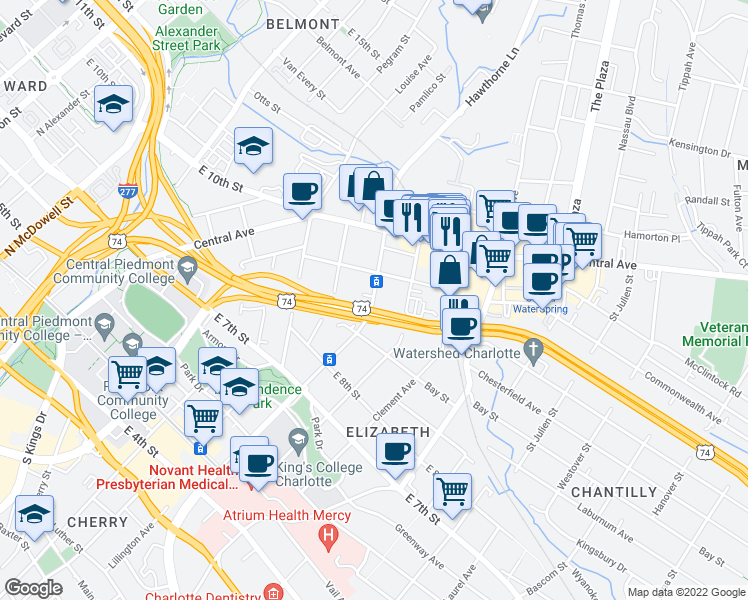 map of restaurants, bars, coffee shops, grocery stores, and more near 1001-1079 E Independence Blvd in Charlotte