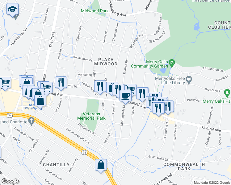map of restaurants, bars, coffee shops, grocery stores, and more near 1617 Club Road in Charlotte
