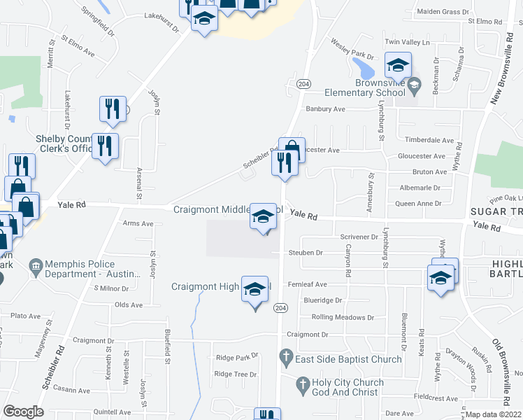 map of restaurants, bars, coffee shops, grocery stores, and more near 5054-5066 Yale Road in Memphis