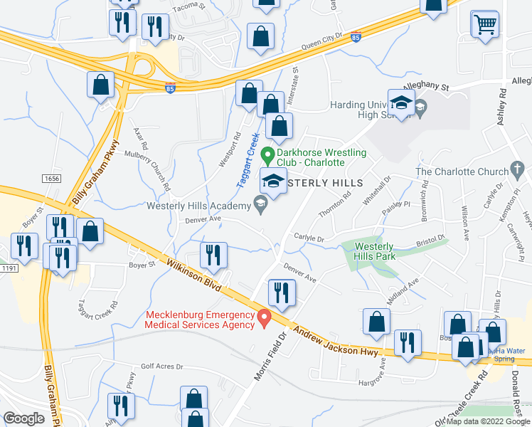 map of restaurants, bars, coffee shops, grocery stores, and more near 4420 Denver Avenue in Charlotte