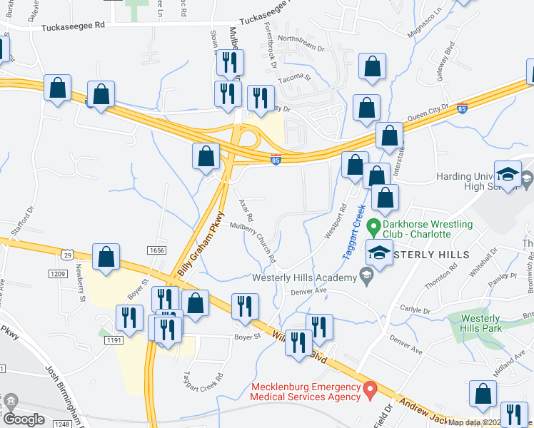 map of restaurants, bars, coffee shops, grocery stores, and more near 3433 Axar St in Charlotte