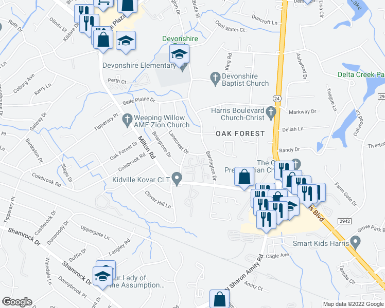 map of restaurants, bars, coffee shops, grocery stores, and more near 2500 Lanecrest Drive in Charlotte