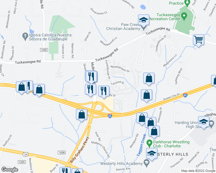 map of restaurants, bars, coffee shops, grocery stores, and more near 3100-3148 Glen Haven Apartments Drive in Charlotte