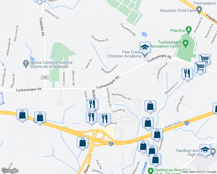 map of restaurants, bars, coffee shops, grocery stores, and more near 2903 Forestbrook Dr in Charlotte