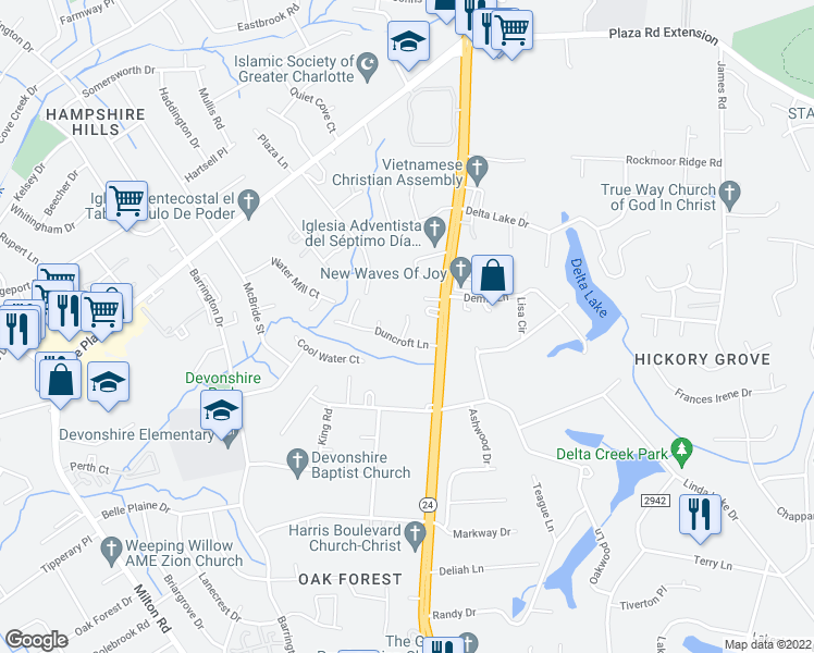 map of restaurants, bars, coffee shops, grocery stores, and more near Capstone Ct in Charlotte
