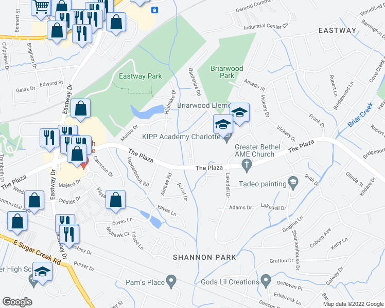 map of restaurants, bars, coffee shops, grocery stores, and more near 1125 Glenfiddich Dr in Charlotte