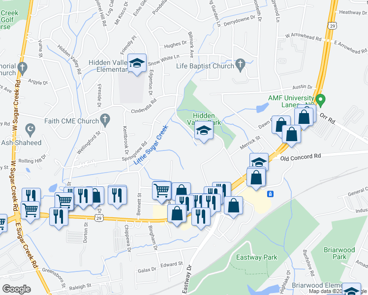 map of restaurants, bars, coffee shops, grocery stores, and more near 435 Lambeth Drive in Charlotte