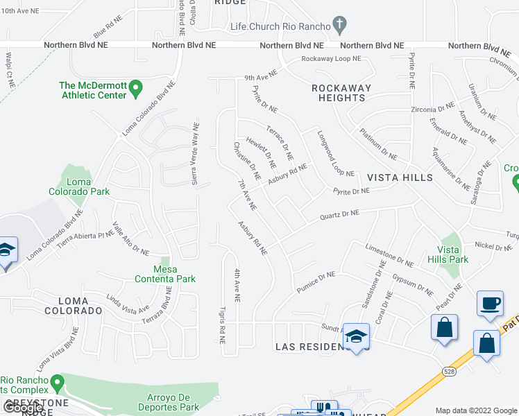 map of restaurants, bars, coffee shops, grocery stores, and more near 424 Christine Drive Northeast in Rio Rancho
