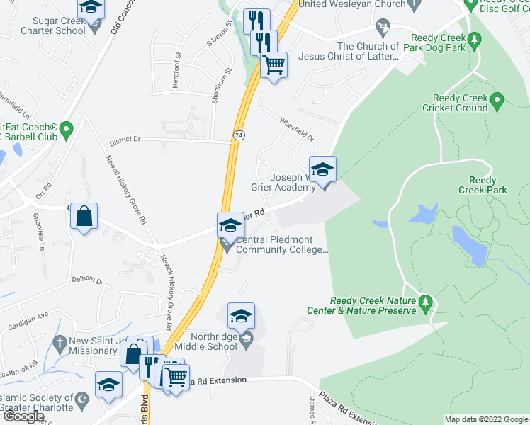 map of restaurants, bars, coffee shops, grocery stores, and more near 8052-8062 Grier Road in Charlotte