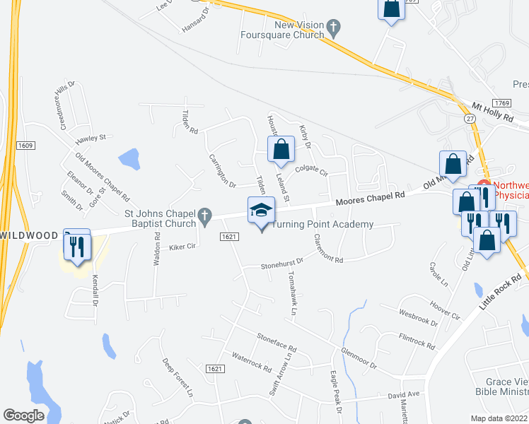 map of restaurants, bars, coffee shops, grocery stores, and more near 1040-1098 Tilden Rd in Charlotte