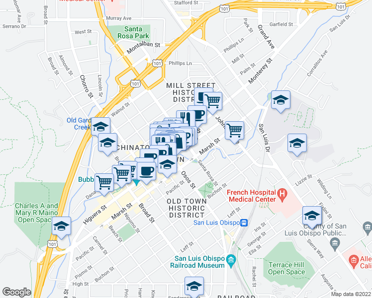 map of restaurants, bars, coffee shops, grocery stores, and more near 1085 Higuera St in San Luis Obispo