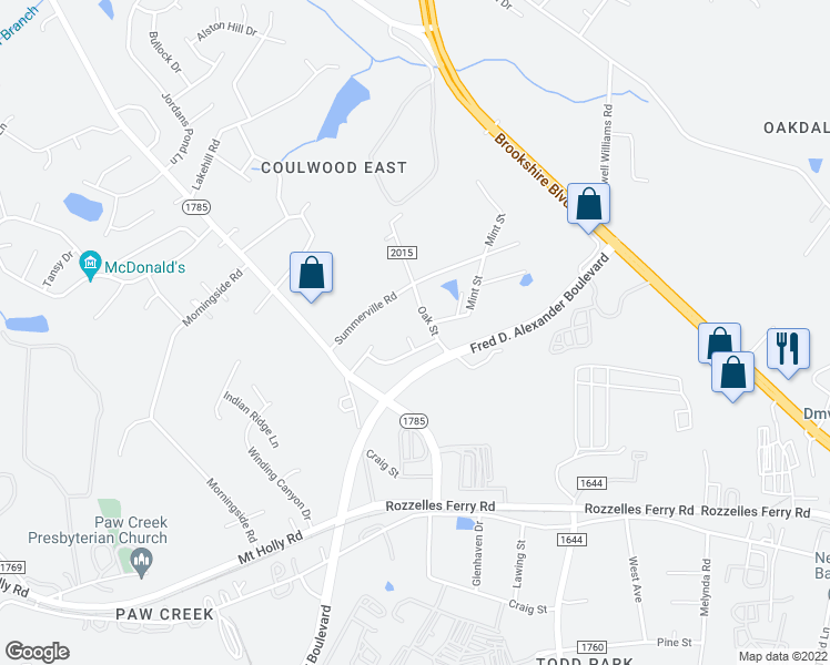 map of restaurants, bars, coffee shops, grocery stores, and more near 512 Ethel Ct in Charlotte