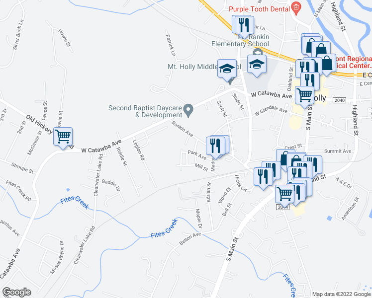 map of restaurants, bars, coffee shops, grocery stores, and more near 300 Park Avenue in Mount Holly