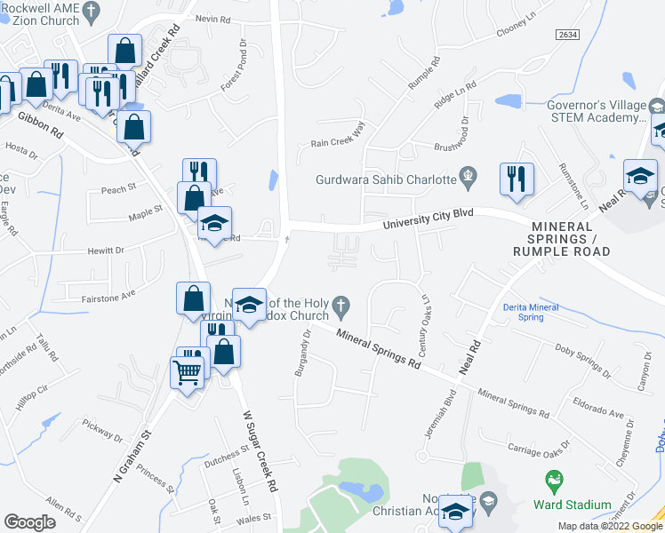 map of restaurants, bars, coffee shops, grocery stores, and more near 6424 Quarterbridge Ln in Charlotte