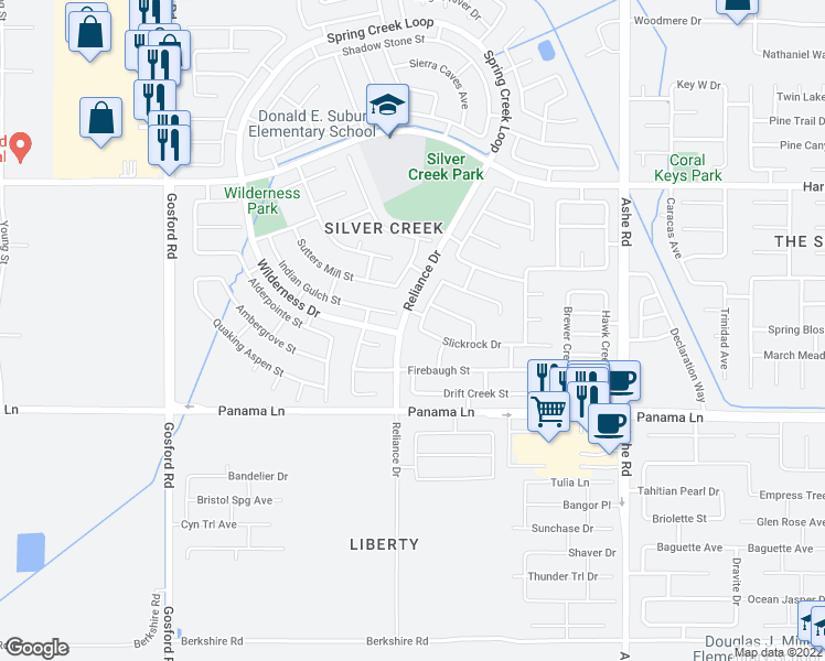 map of restaurants, bars, coffee shops, grocery stores, and more near 6209 Indian Peaks Avenue in Bakersfield