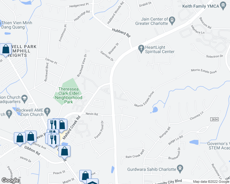 map of restaurants, bars, coffee shops, grocery stores, and more near 6600-6670 Morris Estate Dr in Charlotte
