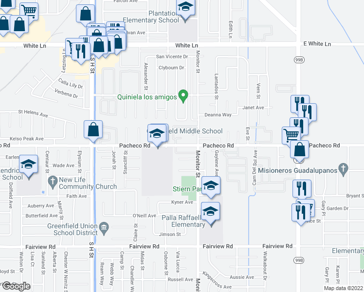 map of restaurants, bars, coffee shops, grocery stores, and more near 917 Pacheco Road in Bakersfield