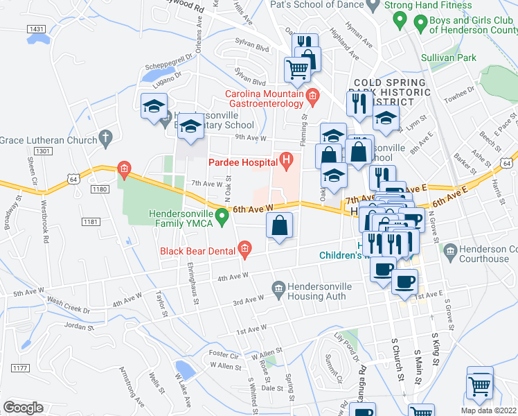 map of restaurants, bars, coffee shops, grocery stores, and more near 705 6th Avenue West in Hendersonville