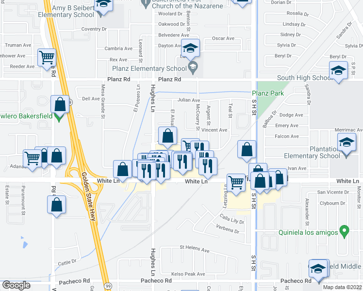 map of restaurants, bars, coffee shops, grocery stores, and more near 3816 El Alisal St in Bakersfield