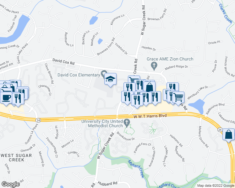 map of restaurants, bars, coffee shops, grocery stores, and more near 6434 West Sugar Creek Road in Charlotte