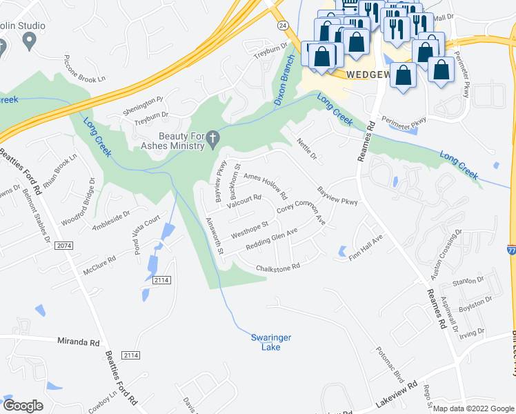 map of restaurants, bars, coffee shops, grocery stores, and more near 8106 Rosberg Lane in Charlotte