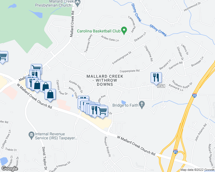 map of restaurants, bars, coffee shops, grocery stores, and more near 1991-2099 Galloway Road in Charlotte