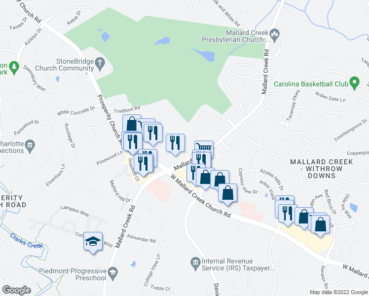 map of restaurants, bars, coffee shops, grocery stores, and more near 2534 Crescent View Dr in Charlotte