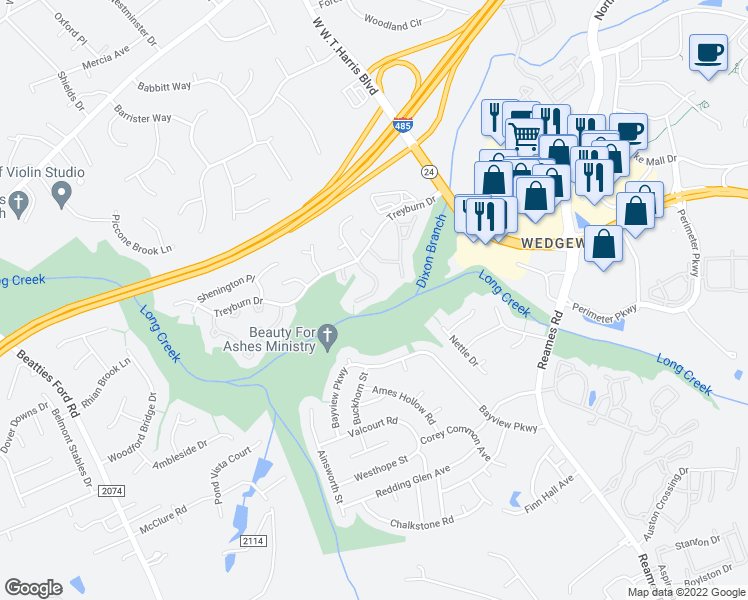 map of restaurants, bars, coffee shops, grocery stores, and more near 9411 Kimmel Ln in Charlotte