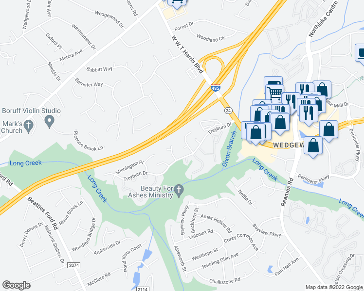 map of restaurants, bars, coffee shops, grocery stores, and more near 9201 Rotherham Lane in Charlotte