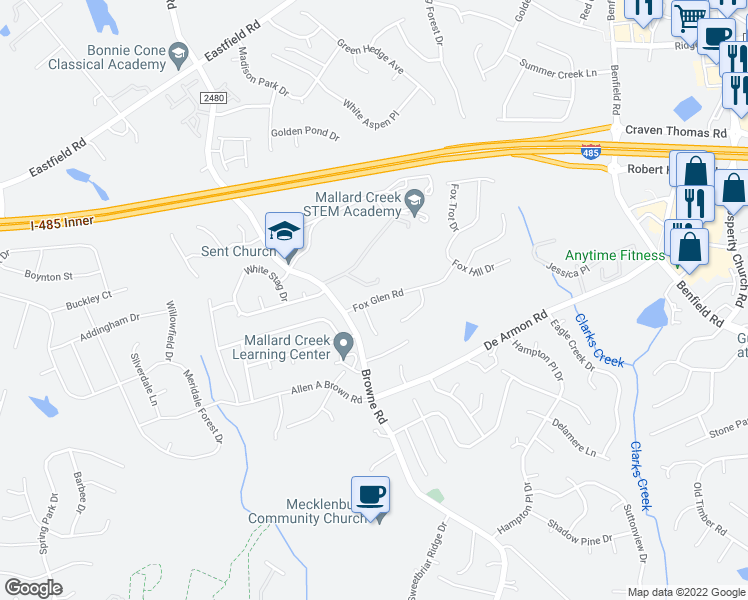 map of restaurants, bars, coffee shops, grocery stores, and more near 11819 Fox Glen Road in Charlotte