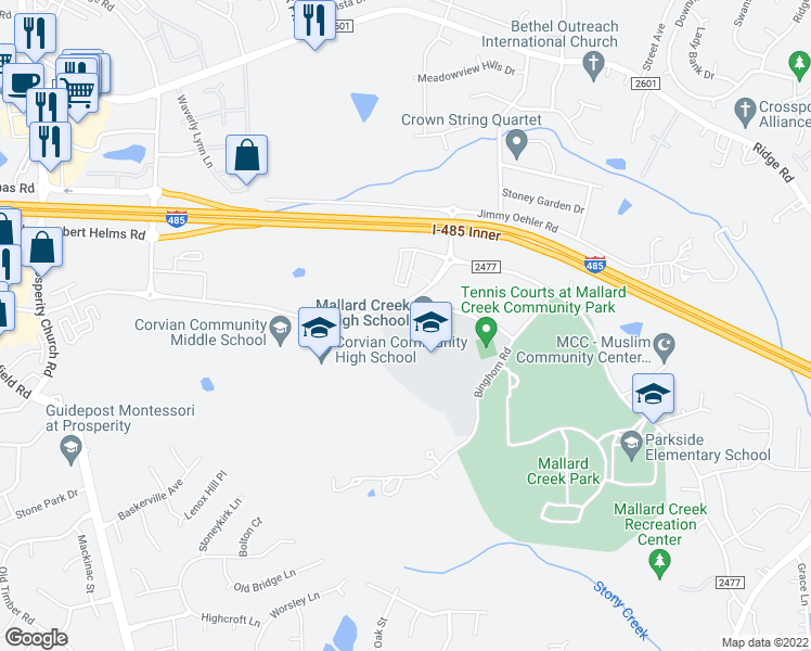 map of restaurants, bars, coffee shops, grocery stores, and more near 4093-4135 Johnston Oehler Rd in Charlotte
