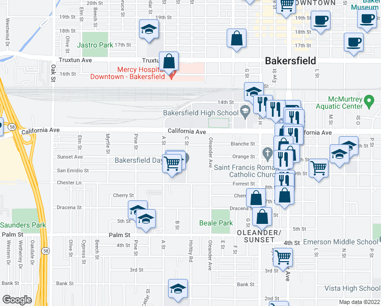 map of restaurants, bars, coffee shops, grocery stores, and more near 1004 C Street in Bakersfield