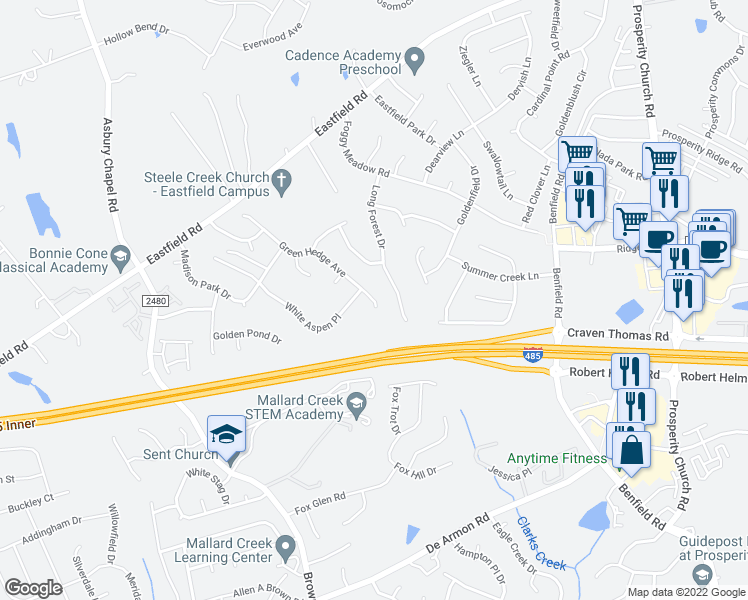 map of restaurants, bars, coffee shops, grocery stores, and more near 10036 Green Hedge Avenue in Charlotte