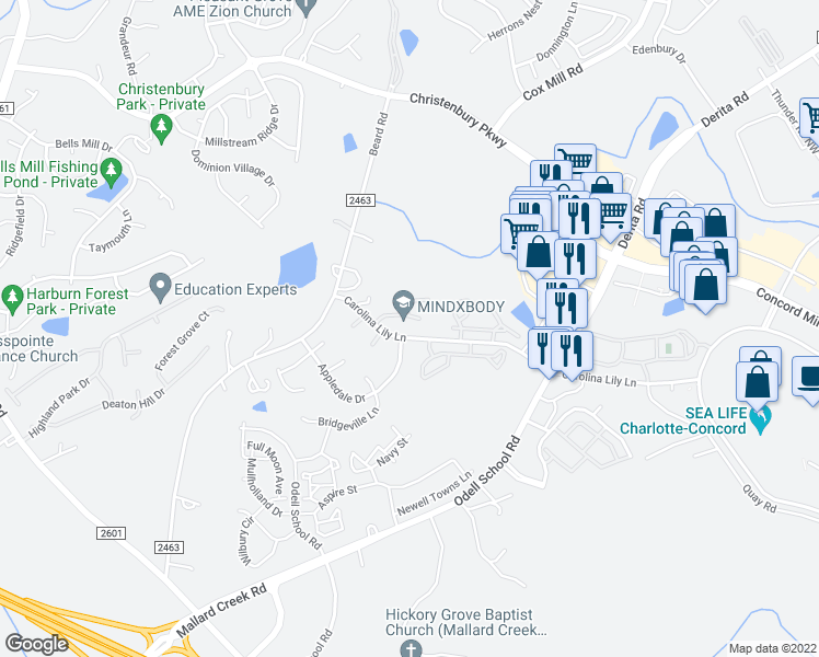 map of restaurants, bars, coffee shops, grocery stores, and more near 3516 Calpella Court in Charlotte