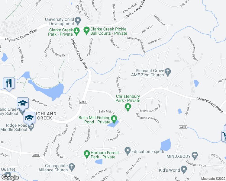 map of restaurants, bars, coffee shops, grocery stores, and more near 7804 Greenock Ridge Court in Charlotte