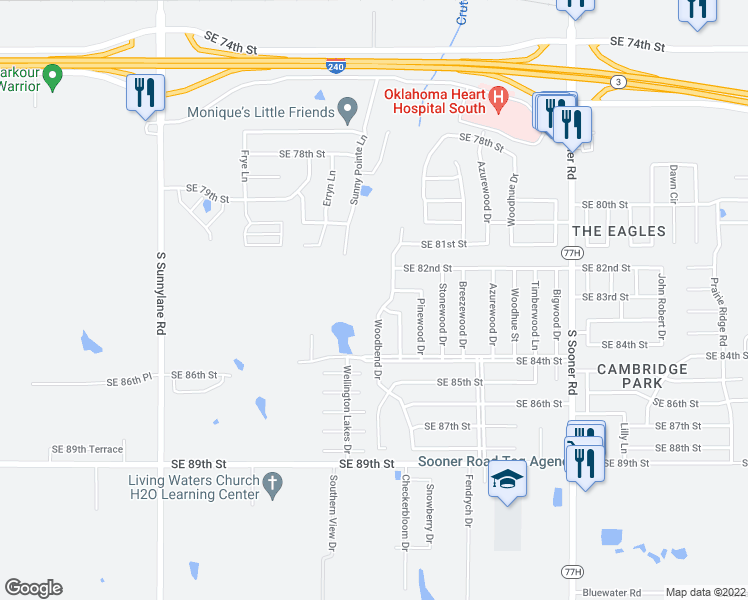 map of restaurants, bars, coffee shops, grocery stores, and more near 8325 Woodbend Drive in Oklahoma City