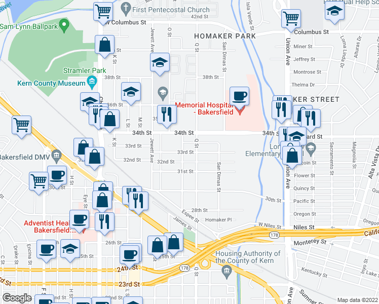 map of restaurants, bars, coffee shops, grocery stores, and more near 810 33rd Street in Bakersfield