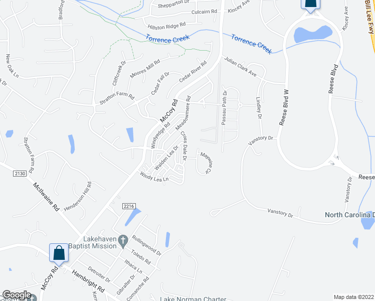 map of restaurants, bars, coffee shops, grocery stores, and more near 12723 Cross Dale Dr in Huntersville