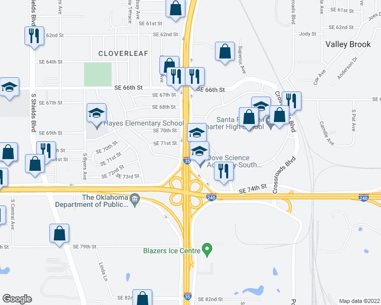 map of restaurants, bars, coffee shops, grocery stores, and more near Crossroads Access Rd in Oklahoma City