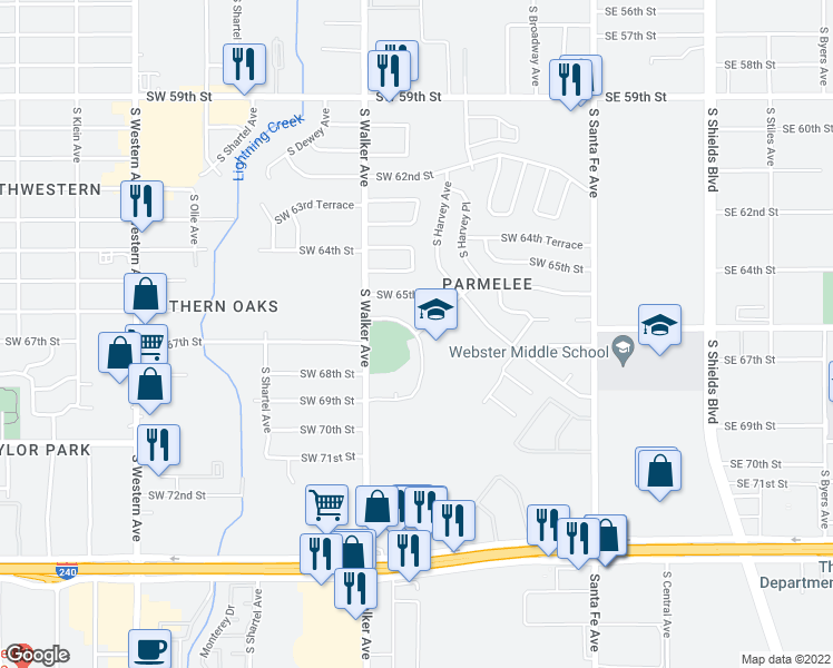 map of restaurants, bars, coffee shops, grocery stores, and more near 6701-6799 South Hudson Avenue in Oklahoma City