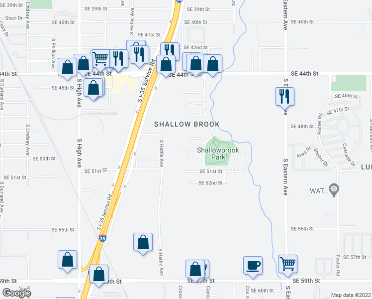 map of restaurants, bars, coffee shops, grocery stores, and more near 5004 S Deborah Dr in Oklahoma City