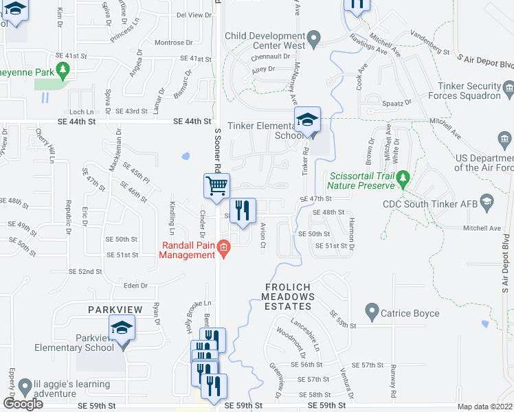 map of restaurants, bars, coffee shops, grocery stores, and more near 5707 SE 48th St in Oklahoma City