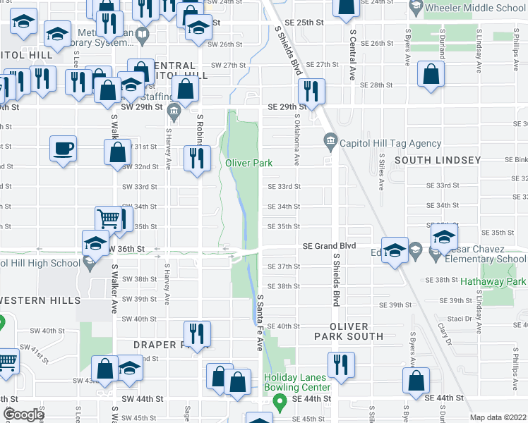 map of restaurants, bars, coffee shops, grocery stores, and more near 3508 S Santa Fe Ave in Oklahoma City