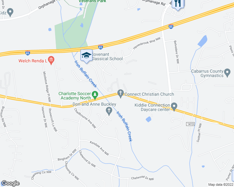 map of restaurants, bars, coffee shops, grocery stores, and more near 3105 Patrick Henry Drive Northwest in Concord