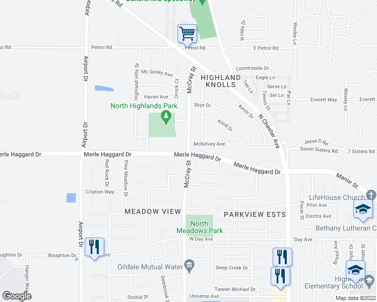map of restaurants, bars, coffee shops, grocery stores, and more near 700-798 Mckelvey Avenue in Bakersfield