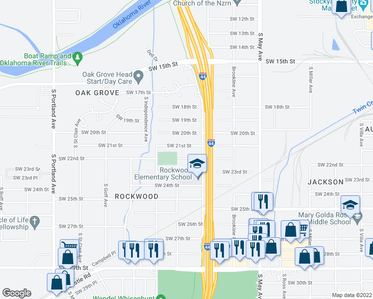 map of restaurants, bars, coffee shops, grocery stores, and more near 3128 SW 21st St in Oklahoma City