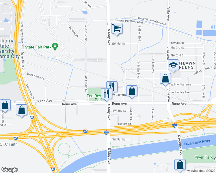map of restaurants, bars, coffee shops, grocery stores, and more near 3 N May Ave in Oklahoma City