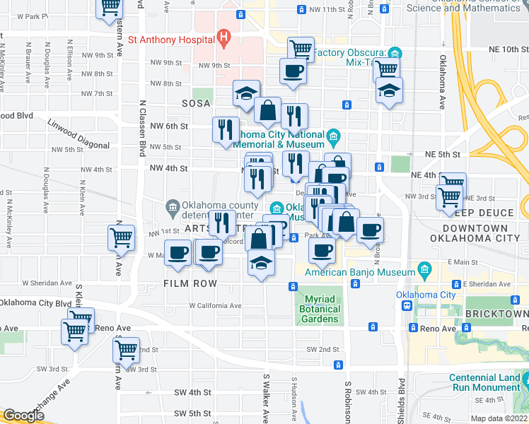 map of restaurants, bars, coffee shops, grocery stores, and more near 428 Dean A McGee Avenue in Oklahoma City