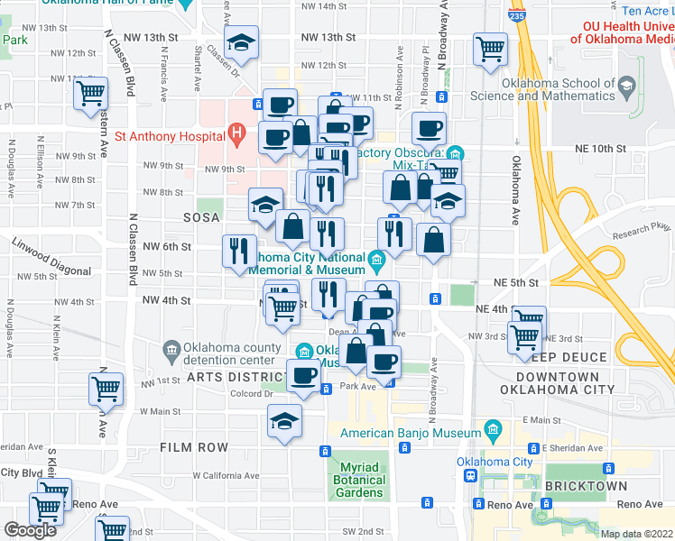 map of restaurants, bars, coffee shops, grocery stores, and more near 333 Northwest 5th Street in Oklahoma City