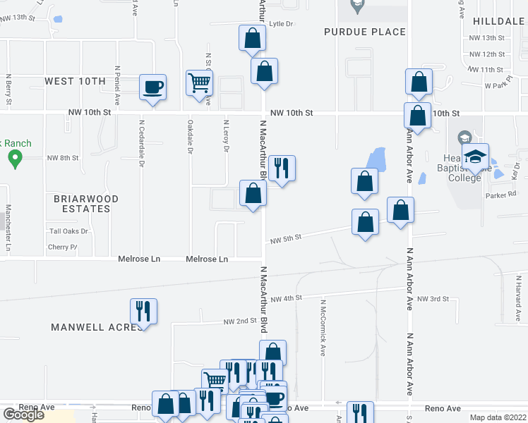 map of restaurants, bars, coffee shops, grocery stores, and more near 616 North MacArthur Boulevard in Oklahoma City